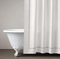 Italian Hotel Satin Stitch Shower Curtain | Cotton & Linen Shower Curtains | Restoration Hardware