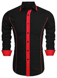 Coofandy Men's Fashion Slim Fit Turn Down Collar Long Sleeve Patchwork Casual Shirts Mens Casual Suits, Casual Wear For Men, Stylish Mens Outfits, Stylish Shirts, Casual Shirts For Men, African Clothing For Men, African Shirts, Slim Fit Dress Shirts, Fitted Dress Shirts