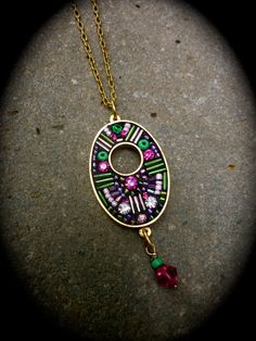 Mosaic Necklace on a Gold plated base with Swarovski by LizTonkin, $41.00