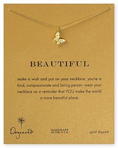 """Dogeared 14K Gold Dipped Butterfly Necklace, 16"""" 
