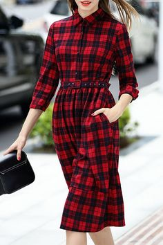 Plaid Print Shirt Neck 3/4 Sleeve Dress