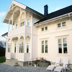 Norwegian House, Swedish House, My Father's House, Villa, Scandinavian Home, Farmhouse Chic, White Houses, House Goals, Victorian Homes