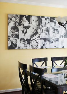 Beautiful collage of the family in the dinning area.