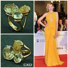 Anel multi pedras pedras green gold e quartzo rutilo dourado!! www.ckdsemijoias.com.br