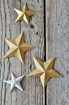 s i n n e n r a u s c h: Stars DIY Noel Christmas, Pink Christmas, Winter Christmas, Christmas Crafts, Diy 3d, Diy And Crafts, Paper Crafts, Gold Diy, Diy Blog