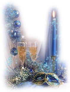Merry Christmas & Happy New Year ! Merry Christmas And Happy New Year, Blue Christmas, Beautiful Christmas, Winter Christmas, Vintage Christmas, Christmas Holidays, New Year Gif, Happy New Year Images, Christmas Scenes