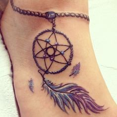 cool Dreamcatcher tattoo on foot