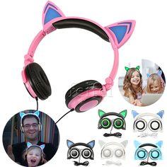 Foldable Cat Ear Headphones Earphone Glowing Gaming Headset W/ light wholesale