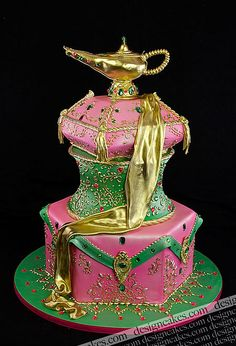 Genie Lamp Cake ~ by Design Cakes - Christine Pereira Oh my! with this cake! Crazy Cakes, Fancy Cakes, Gorgeous Cakes, Pretty Cakes, Amazing Cakes, Take The Cake, Love Cake, Unique Cakes, Creative Cakes