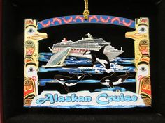 Commemorate your extraordinary experience on an Alaskan Cruise with this gorgeous, high quality, 2D, genuine solid brass ornament. This beautiful memento measures 2.25 x 3 inches and elegantly captures the spirit of the Pacific Northwest. Featuring a border of native totems and art surrounding a cruise ship, playful orca, and a humpback whale, this ornament is the perfect souveni