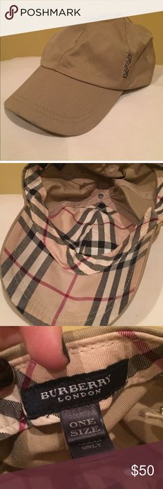 Burberry baseball hat Authentic Burberry baseball style hat. Very cute and has the classic Burberry print inside the hat. Has snaps in back to adjust size of the hat. Offers welcome Burberry Accessories Hats