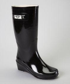 Look what I found on #zulily! Black Wedge Rain Boot - Women #zulilyfinds