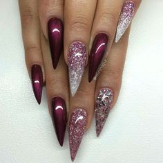 Mahogany glitter stiletto nails More