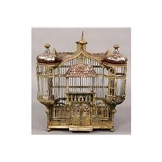 love the turrets....1910...ANTIQUE FRENCH TOLE BIRD CAGE CHATEAU FORM...