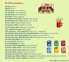 Im Klassenzimmer - Az osztályteremben :: Lupán Német Online Learn German, Learn English, German Language Learning, Germany, Education, Letter I, School Stuff, German Language, Class Room