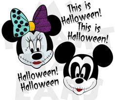 Printable DIY Mickey Minnie Mouse dressed as Jack and Sally Nightmare before Christmas Halloween Iron on transfer clipart Disneyland Halloween, Holidays Halloween, Halloween Crafts, Halloween Ideas, Scary Halloween, Disney Halloween Shirts, Disney Holidays, Halloween Goodies, Halloween Images
