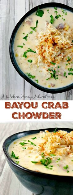 Bayou Crab Chowder is bowl of Cajun flavored deliciousness. There's hearty potatoes, sweet corn, smoky sausage, kicked up Cajun spices, and finally succulent crab in this seafood Cajun party in a bowl. More