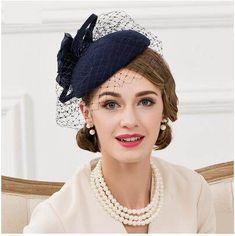 70c50d42b430d Chic flower pillbox hat for women navy soft wool hats with veil design