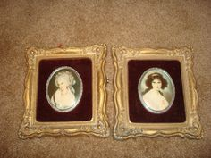 """2 Vintage Cameo Creations Pictures 1940""""s"""