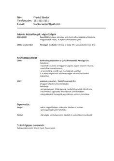 Önéletrajz írás, motivációs levél készítés, CV Writing Service - Alap sablon