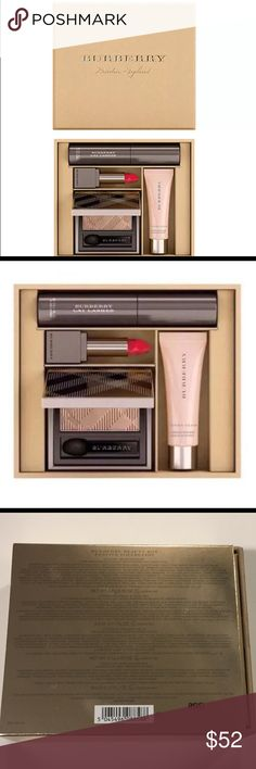 NIB BURBERRY Festive Beauty Box-Limited edition Fresh Glow Luminous Fluid Base   in Nude Radiance No.01-.17 oz/ 5.02 ml  Lip Velvet in Military Red  No.429-.02 oz/ .591 ml    Burberry Cat Lashes in Jet Black   No. 01-.11 oz/ .325 ml   Eye Color Silk  in Pale Barley No. 102-.02 oz/ .591 ml Burberry Makeup