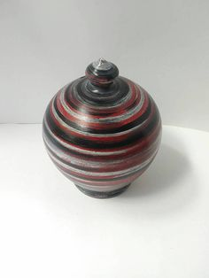 Coin bank, black silver grey red ceramic money jar, pottery piggy bank, unique gift for college student graduation, bohemian chic gypsy