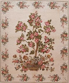 detail - Mary Malvina Cook Taft: Chintz appliqued quilt, c. 1835, cotton, possibly made in Maryland, Virginia or South Carolina, cotton, 110.25 x 92.5 inches;  according to family lore, was made for Mary's trousseau, The Metropolitan Museum of Art