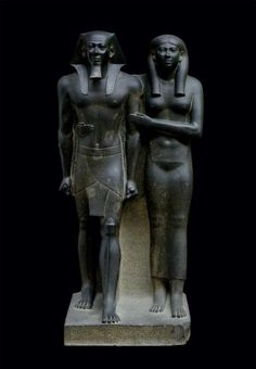 King Menkaura (Mycerinus) and queen Egyptian Old Kingdom, Dynasty reign of Menkaura B. Found at: Egypt, Giza, Menkaura Valley Temple Ancient Egypt Religion, Nefertiti Bust, Kunsthistorisches Museum, Arts And Crafts House, Greek Art, Ap Art, Egyptian Art, Egyptian Temple, Museum Of Fine Arts