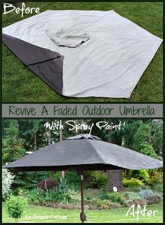 Looking to spruce up your outdoor living area for the warm weather without spending a bundle? Find out How to Paint a Faded Outdoor Umbrella at An Oregon Cottage - it's extended the life of our umbrella for 3 more seasons and counting!