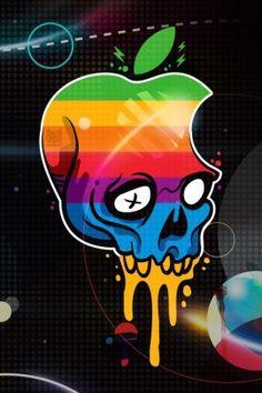 Apple Logo Skull, Wallpaper for iPhone 4S