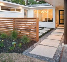 Landscaping And Outdoor Building , Modern House Front Yard Landscaping Ideas : Modern House Small Front Yard Landscaping With Stepping Stones And Small Gravels And Fence