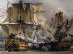 HMS _Victory_ engaging the French battleship Redoubtable at Trafalgar, 1805.