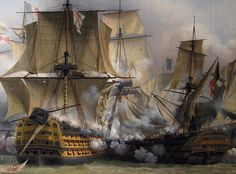 HMS Victory_ engaging the French battleship Redoubtable at Trafalgar, 1805.