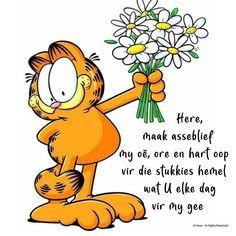 Here, maak asseblief my oë, ore en hart oop vir die stukkies hemel wat U elke dag vir my gee Garfield Cartoon, Garfield And Odie, Garfield Comics, Cartoon Cats, Garfield Pictures, Goeie More, Inspirational Qoutes, Cute Messages, Cartoon Characters