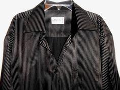 ARMANI COLLEZIONI Shirt Men Sz XL White Stripe Button Up Long Slv MADE IN ITALY #ArmaniCollezioni