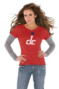 Touch by Alyssa Milano Washington Wizards Primary Logo Tri Blend Long Sleeve Layered T-Shirt