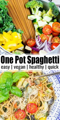 These vegan one pot spaghetti with vegetables are super delicious healthy and very easy to make They make a great vegan dinner on lazy days Find more vegan recipes at vegan veganrecipes vegetarian One Pot Spaghetti, Spaghetti Recipes, Vegetarian Spaghetti, Vegan Pasta, Spaghetti Dinner, Vegetarian Recipes Dinner, Vegan Dinners, Healthy Vegan Recipes, Vegan Recipes Healthy Clean Eating