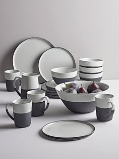 NEW Monochrome Stoneware Dinnerware Crafted from stoneware with a soft white glaze and matt black bisque edging our stylish collection of monochrome ... & Joshua Bowl Set Of 4 - Ivory White | Bowl set Dinnerware and Ivory