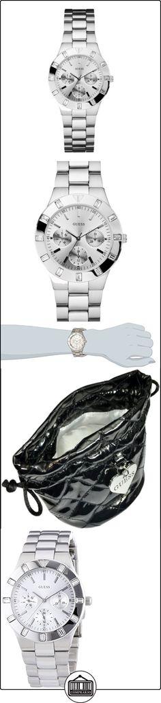 Guess W11610L1 - Reloj analógico de cuarzo para mujer con correa de acero inoxidable, color plateado  ✿ Relojes para mujer - (Gama media/alta) ✿