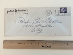 """Item: fc_19570702_3 Business cover approx. 4""""x 9 ½""""  Condition: very good, yellowing due to age and very slight creases  Johnnie (Santa Claus logo) Blackburn's 3044 N. Cedar at Shields Fresno BA 9-3597  Postmark: FRESNO JUL 8 PM 1957 CALIF. Stamp: 3c Liberty First Class Slogan cancel: PRAY FOR PEACE  Addressee: Pacific Gas & Electric 1401 Fulton St. City"""