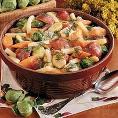 Winter Root Vegetables...would be a complete meal for me, but some smoked sausage added would be great as well. ♥