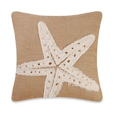 Burlap Starfish Embroidery Square Toss Pillow - BedBathandBeyond.com