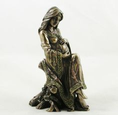 PAGAN Wiccan EARTH MOTHER Pregnancy FIGURINE Pregnant Woman STATUE Bronzed - NEW