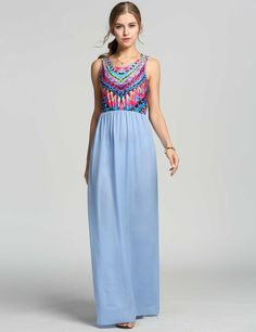 Stylish Women Round Neck Sleeveless Bohemia Print Patchwork Maxi Casual Dresses