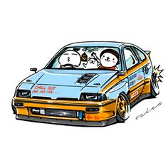 """car illustration """"crazy car art"""" jdm japanese old school """"CRX"""" original characters """"mame mame rock"""" / © ozizo Official web shop """"STAY CRAZY (in Society6)"""" Official web shop """"ozizo(in Redbubble"""") """"Crazy Car Art"""" Line stickers """"Crazy car Art"""" Telegram..."""