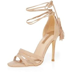 Dorothy Perkins Nude 'Sunset' Tassel Tie Sandals ($59) ❤ liked on Polyvore featuring shoes, sandals, nude, ankle tie shoes, nude high heel shoes, ankle strap high heel sandals, ankle strap sandals and tie shoes