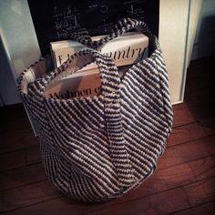 My home. Black stripe jute bag.