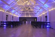 Fairy light star canopy at the Stoke Place ballroom with purple uplighting Wedding Lighting, Event Lighting, Wedding Venue Decorations, Wedding Venues, Stoke Place, Bright Color Schemes, Mood Light, Fairy Lights, Chic Wedding