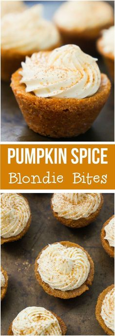Pumpkin Spice Blondie Bites are an easy fall dessert recipe. Perfect for Halloween and Thanksgiving. #pumpkinspice #fallrecipes #pumpkin #thanksgiving