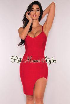 8a15fb5815d Red Slit Bandage Dress. Red Bandage DressBodycon DressMilitary Ball  DressesHot Miami StylesNice DressesSexy DressesFashion DressesLong ...
